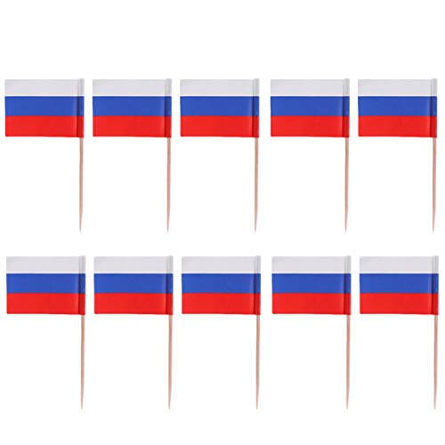 Amosfun 100 Stück Mini Russland Flagge Zahnstocher Cupcake Topper Holz Cocktail Spieße Dessert Obst Picks für Bar Restaurant Cocktail Sport Party Dekoration Lieferungen (Russland)