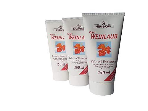 Hochwertige Bein- und Venencreme mit rotem Weinlaub, Roßkastanie, Ringelblume, Kamille und Arnika; für ein gutes Gefühl in den Beinen; Spar-Set 3x150ml in der Tube