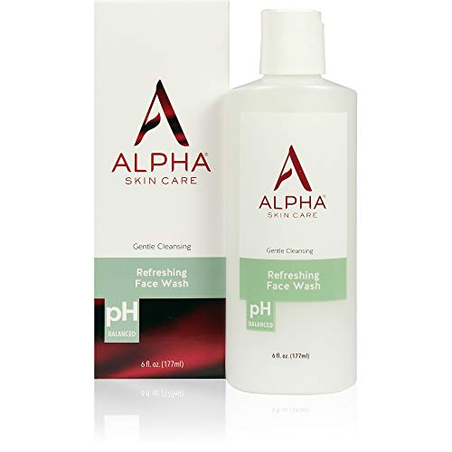 Alpha Skin Care Refreshing Face Wash | Anti-Aging Formula | Citric Alpha Hydroxy Acid (AHA) | Gently Cleanses, Purifies, Tones & Restores Ideal PH | For All Skin Types | 6 Fl Oz Alpha Hydroxy Foaming Face Wash