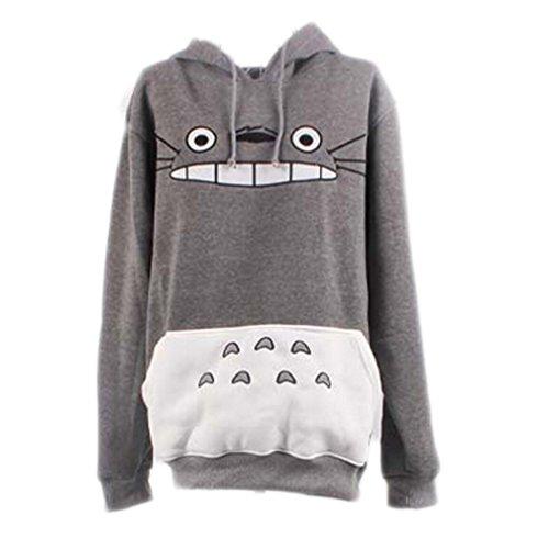 Unisex Anime Mein Nachbar Totoro Sweatshirt Top Freizeit Pullover Damen Männer (Grau), L