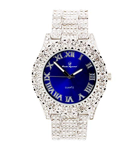 Charles Raymond Hip Hop iced Out Bling blinged Mens New Diamond Rhinestone Watch Bling'ed Out with Color Gems Diamonds on Trim Matching Watch Dial - ST10327DX Color (Royal Blue Silver)