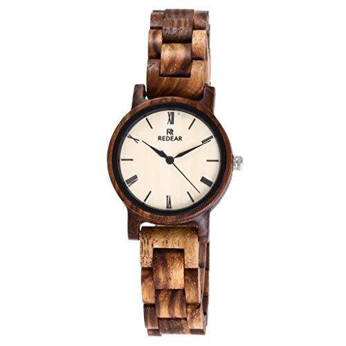 GLEMFOX Zebra Wood Damenuhr-Natural Small Dial Holzuhr Japan Miyota Quarzwerk Senior Damenuhr aus Holz
