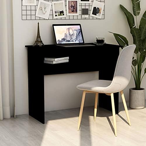 SHUJUNKAIN Escritorio de aglomerado Negro 90x50x74 cm Mobiliario Mobiliario de Oficina Escritorios Negro
