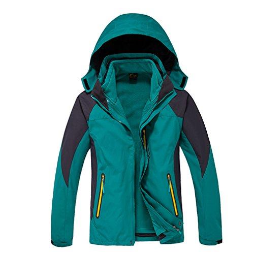 CIKRILAN Homme 3 en 1 Coupe-Vent Capuche Imperméable Respirante Outdoor Veste de Randonnée Camping Escalade Manteau (Medium, Bleu)