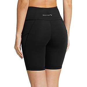 BALEAF Women's 8″ /5″ High Waist Biker Shorts Yoga Workout Running Compression Exercise Shorts Side Pockets
