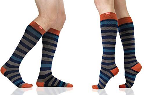 VIM & VIGR Merino Wool 15-20 mmHg Compression Socks for Women & Men (Navy & Grey Thick Stripe, S/M Wide Calf)