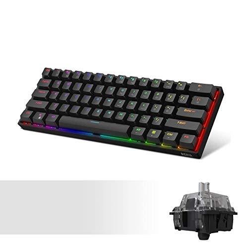 DIERYA DK61E 60% Mechanical Gaming Keyboard, RGB Backlit Wired PBT Keycap Waterproof Type-C Mini Compact 61 Keys Computer Keyboard with Full Keys Programmable (Gateron Optical Silver Switch)