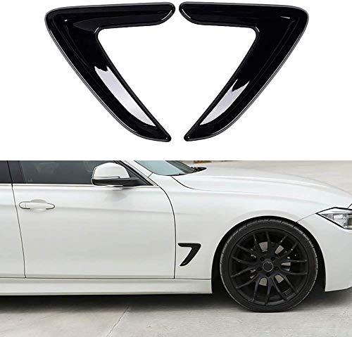 HYNB 2 stks/set Voordeur Zijvleugel Ontluchter Outlet Cover Trim Sticker Fit Voor BMW 3 Serie F30 F35 2013-2017 Auto Exterieur Decoratie Styling, Zwart, Zwart