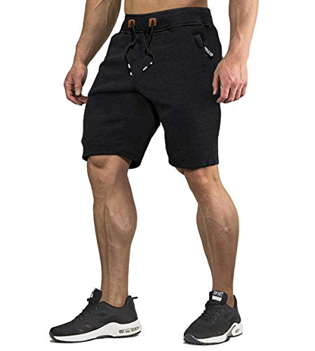 KEFITEVD Pantalones cortos de chándal para hombre con bolsillos con cremallera, de algodón, cómodos pantalones cortos para el gimnasio, para el tiempo libre, pantalones cortos de verano