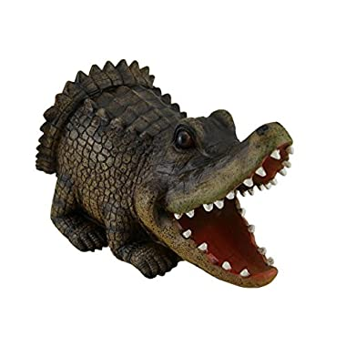Resin Gutter Downspouts Open Mouth Alligator Decorative Gutter Downspout Extension Statue 8 X 5 X 4.5 Inches Brown