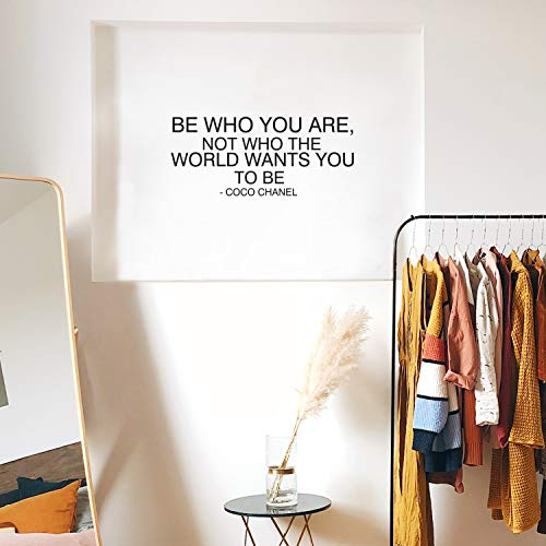 """Vinyl Wall Art Decal - Be Who You are Not Who The World Wants You to Be - 14""""x 32.5"""" - Trendy Inspirational Quote for Home Bedroom Living Room Office Work Apartment Decor (Black)"""