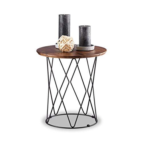Relaxdays Natur, Beistelltisch, rund, Holz Tischplatte, Metall Drahtkorb, Design Couchtisch, H x Ø: 42 x 40 cm, Vintage, Standard