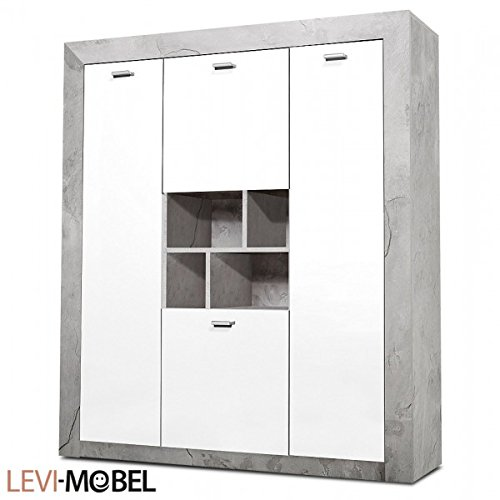 Moebelaktionsshop24 HIGHBOARD Flur Wohnzimmer Beton-Optik WEIß Hochglanz 488238