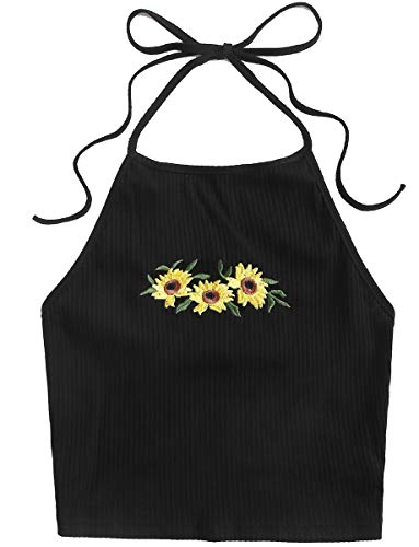 Romwe Women's Plus Size Boho Floral Print Tie Knot Backless Crop Halter Top Cami Yellow#3 0X