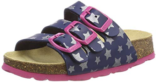 Superfit Mädchen FUSSBETTPANTOFFEL Pantoffeln, Blau (Blau 84), 34 EU