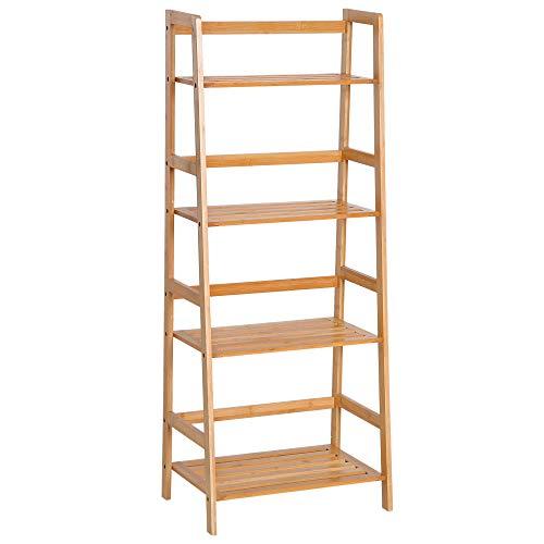 HOMCOM Estantería de Bambú 4 Niveles Estantería Escalera de Baño Librería Organizador Zapatero 48x30x119cm
