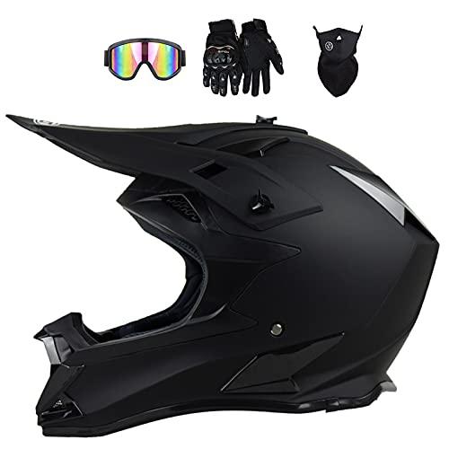 VOMI Cascos de Motocross con Gafas Máscara Guantes, Casco de Cross Adultos Casco Downhill de Moto para Adolescentes y Niños, Carreras MTB ATV MX Dirt Bike Bici de Montaña, Dot Aprobado, Negro Mate,XL
