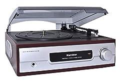 Gramofon Karcher KA 8050 z wbudowanymi srebrnymi głośnikami