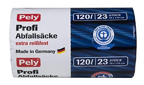 pely Profi-Abfallsäcke, mit Verschlussband,Blauer Engel Zertifiziert, 120 Liter, 23 Stück, schwarz, 120 l
