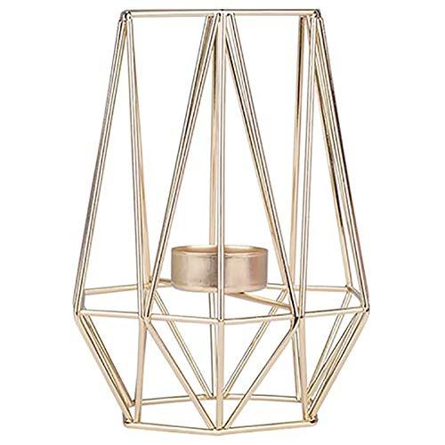 RETYLY Candelabro de Oro en Forma de HexáGono Dise?O GeoméTrico Candelabro Votivo de Luz de Té Candelabro Hueco de Hierro Vintage