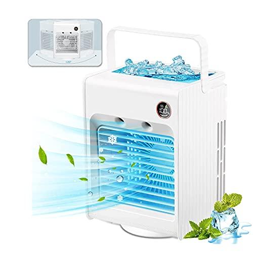 Tragbarer Luftkühler, Tragbare Mini Klimaanlage Desktop-Lüfter Verdunstungskühler mit LED-Anzeige, Nacht Lichter und Wassertank,Super Leise Automatische Oszillation für Schlafzimmer Büro Outdoor-Sport