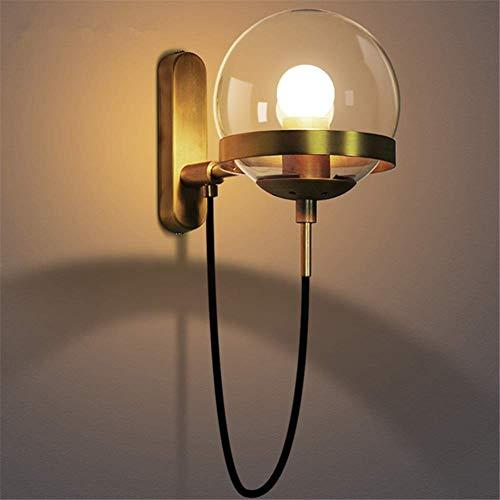 Lámparas de pared industriales, poste simple Iluminación retro moderna Zócalo E27 Bola redonda de vidrio de color coñac Lámpara de pared de metal de cobre antiguo para sala de estar Dormitor