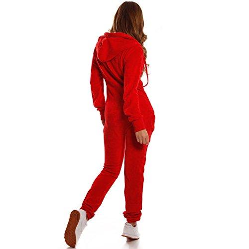 Crazy Age Damen Jumpsuit aus Samt (Rot) - 3