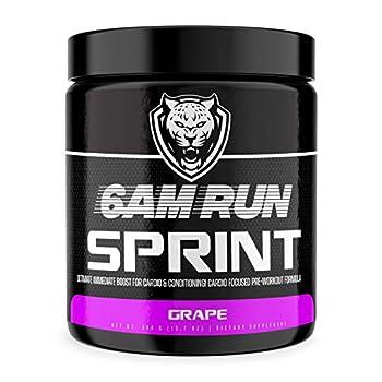 6AM RUN Sprint Run Pre Workout Powder for Running - Cardio Pre Workout No Jitters - Keto Pre Workout Powder - Vegan Pre Workout Powder - Grape Pre Workout Running Supplement - 30 Scoops