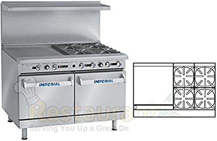 """Imperial Commercial Restaurant Range 48"""" With 4 Burners 24"""" Griddle 2 Standard Ovens Propane Ir-4-G24"""