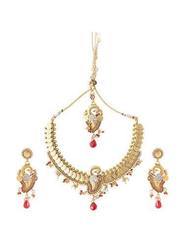 INAYA Latón Cristal y oro amarillo plateado conjuntos de collar Con Granate Chaton Piedra, 1 par