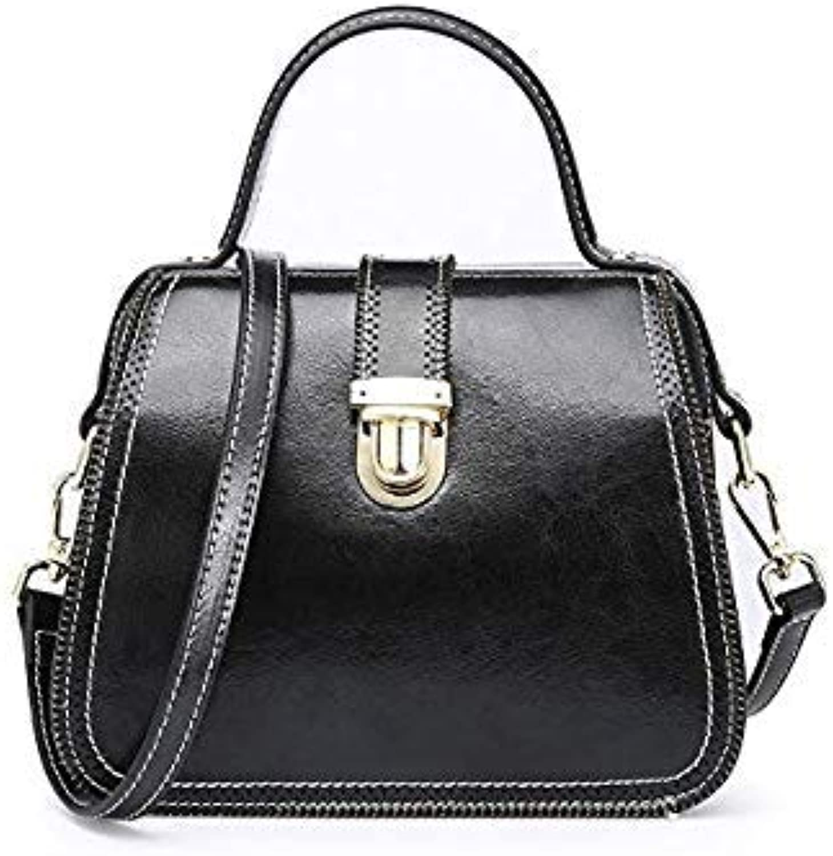 Bloomerang New Women's Bag Vintage Calf Leather Handbag Shaped Shoulder Bag Crossbody Doctor Bags HighQuality Female Tote color Black