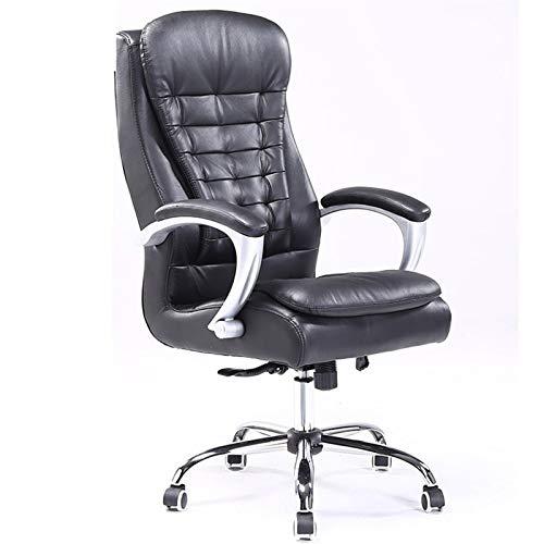 HMBB Sillas de escritorio, sillas reclinables, sillones de sala de estar, respaldo alto, silla de oficina de cuero ejecutivo, silla de trabajo giratoria para computadora (color: negro)