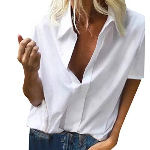 Xmiral T-Shirt Donna Vintage Camicetta Maglietta Maniche Corte Maglietta Mates Camicia Camicie Tee S Bianca