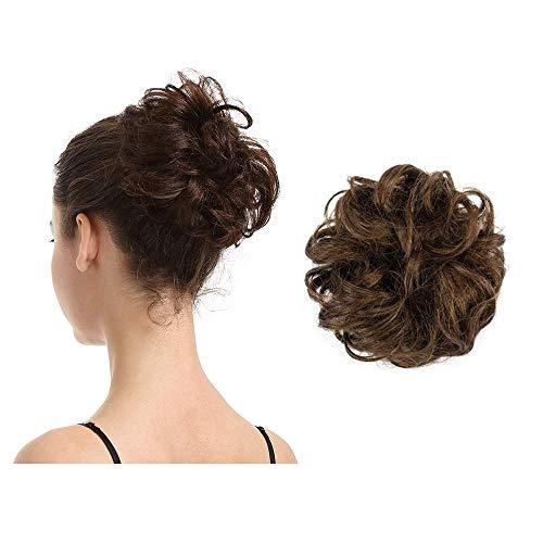 BARSDAR Gomas para el cabello 100% humano Extensiones de moño rizado y desordenado Moño de boda Piezas para mujeres Niños Cabello Updo Donut Chignons