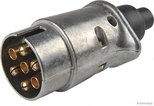 HELLA Stecker 7-polig, mit Zugentlastung, Mittelkontakt (58L) mit Kontakthülse, Belastbarkeit 20 A bei 12 V, nach DIN ISO 1724. massive Metallausführung