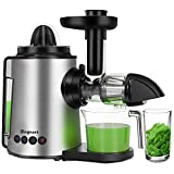 Juicer Machines 2 in 1 Slow Masticating Citrus Juicers Fruits and Vegetables Cold Press Juice Extractor with Antioxidant Mute and Reverse Function, Include Juice Cup & Brush