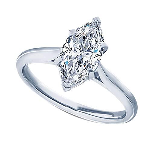 Anillo de compromiso solitario de diamante simulado CZ de talla marquesa de 1,25 quilates para ella en plata de ley 925 chapada en oro (tamaño del anillo 60)