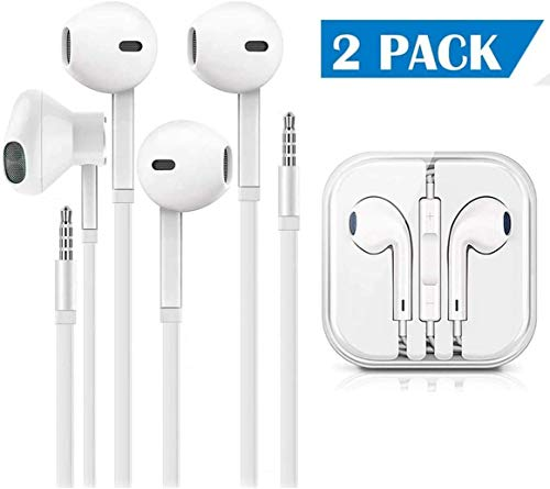 OJBY Earbuds/Earphones/Headphones, (2 Pack) Stereo Microphone and Remote Control Noise Isolation in-Ear Headphones, Compatible with iPhone/iPod/iPad/Samsung/Huawei/MP3/MP4/MP5