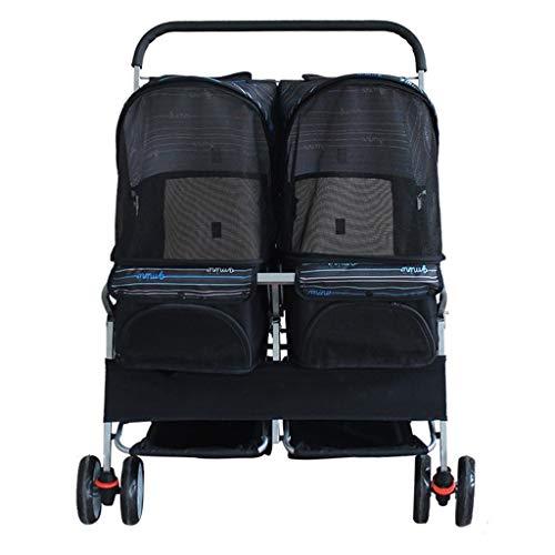 BTIR dubbele kinderwagen voor honden, vier wielen voor dieren, voor katten, honden en meer, opvouwbare houder, Zwart