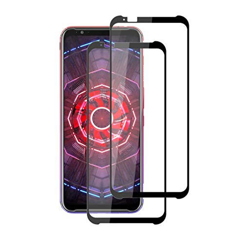 "XunEda ZTE Nubia Red Magic 3 6.65"" Protection Écran, Full Coverage Protection Verre Trempé écran Protecteur Dureté 9H Glass Screen Protector pour ZTE Nubia Red Magic 3 Smartphone (Noir-2 Pack)"