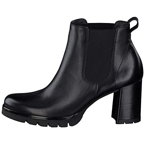 Paul Green Damen Chelsea-Stiefelette, Frauen Chelsea Boots, Woman Freizeit leger Stiefel halbstiefel Bootie hoch weiblich,Schwarz,6.5 UK / 40 EU