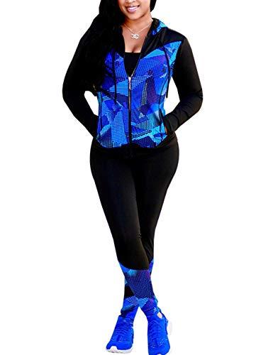 Angsuttc Damen 2 Stück Outfits Langarm Full Zip Kapuzenjacke und Hose Set Trainingsanzug - Blau - 38/40