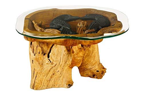 WINDALF Unikat Teak-Couchtisch Hugin & Munin 90 cm Odins Raben mit Glas Wurzelholz-Wohnzimmertisch Handarbeit aus Wurzelholz
