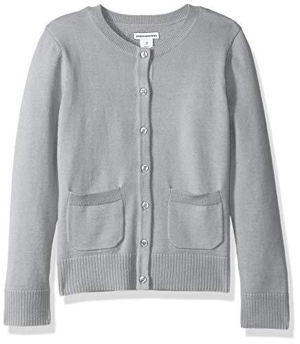 Amazon Essentials Little Girls' Uniform Cardigan Sweater, Light Heather Grey, M
