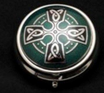 Sea Gems Pill Box in a Celtic Cross Design (Green)