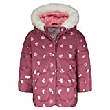 Carter's Girls' Heavyweight Winter Jacket Coat, Maroon/Hearts, 5/6