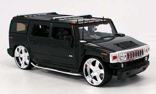 Hummer H2 Tuning, schwarz, Modellauto, Fertigmodell, Jada 1:24