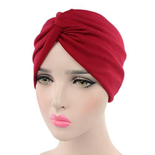 IBLUELOVER Bonnet Femme Turban Musulman Bandeau Elastique Respirant Chapeau Chimiothérapie en Coton pour Cancer Bandana Headscarf Coiffure Mode Indien Casquette Contre la Chute des Cheveux (Rouge)