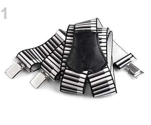 1pc Blanco Pantalón Negro Llaves/Tirantes Musical Ancho de 4 cm de Longitud 120cm, Y Otros Accesorios, Moda