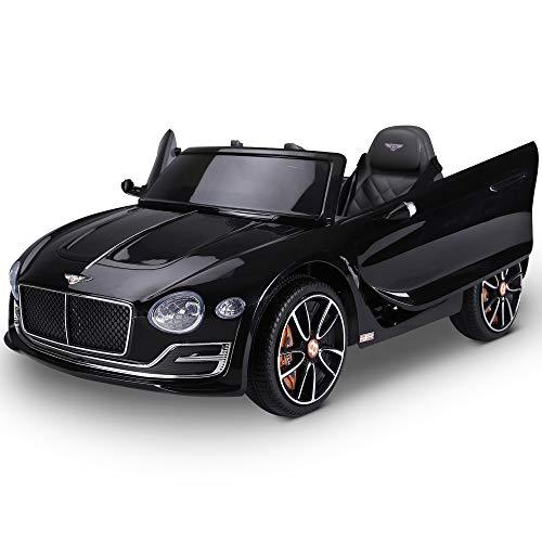 HOMCOM Coche Eléctrico para Niños 2 Modos de Control con Música Faros Brillantes Retroceder Bentley GT Licencia +3 Años Automóvil Infantil 108x60x43 cm Negro